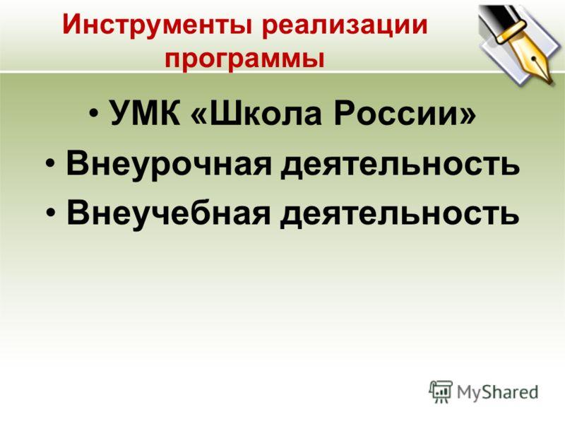 Инструменты реализации программы УМК «Школа России» Внеурочная деятельность Внеучебная деятельность
