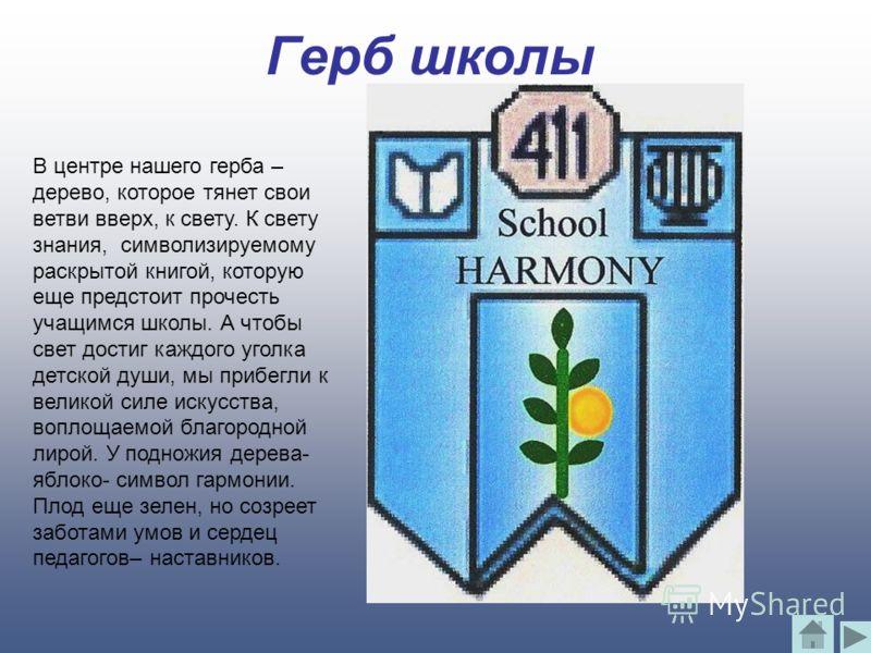 Герб школы В центре нашего герба – дерево, которое тянет свои ветви вверх, к свету. К свету знания, символизируемому раскрытой книгой, которую еще предстоит прочесть учащимся школы. А чтобы свет достиг каждого уголка детской души, мы прибегли к велик