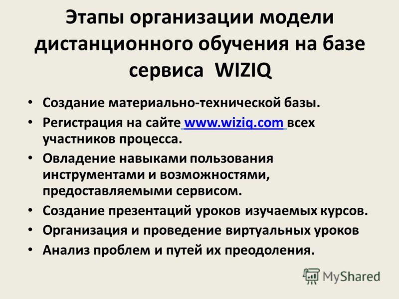 Этапы организации модели дистанционного обучения на базе сервиса WIZIQ Создание материально-технической базы. Регистрация на сайте www.wiziq.com всех участников процесса.www.wiziq.com Овладение навыками пользования инструментами и возможностями, пред