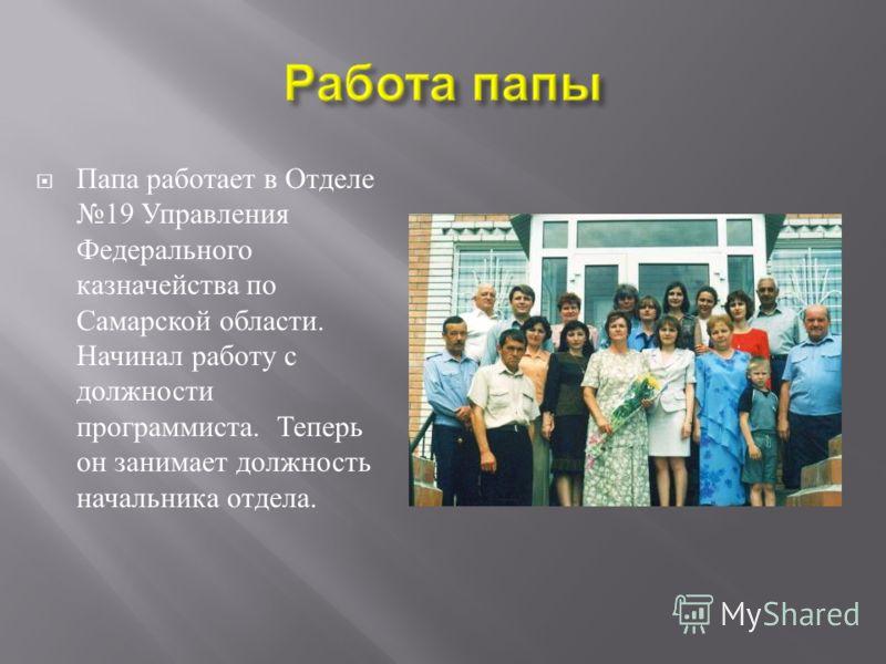 Папа работает в Отделе 19 Управления Федерального казначейства по Самарской области. Начинал работу с должности программиста. Теперь он занимает должность начальника отдела.