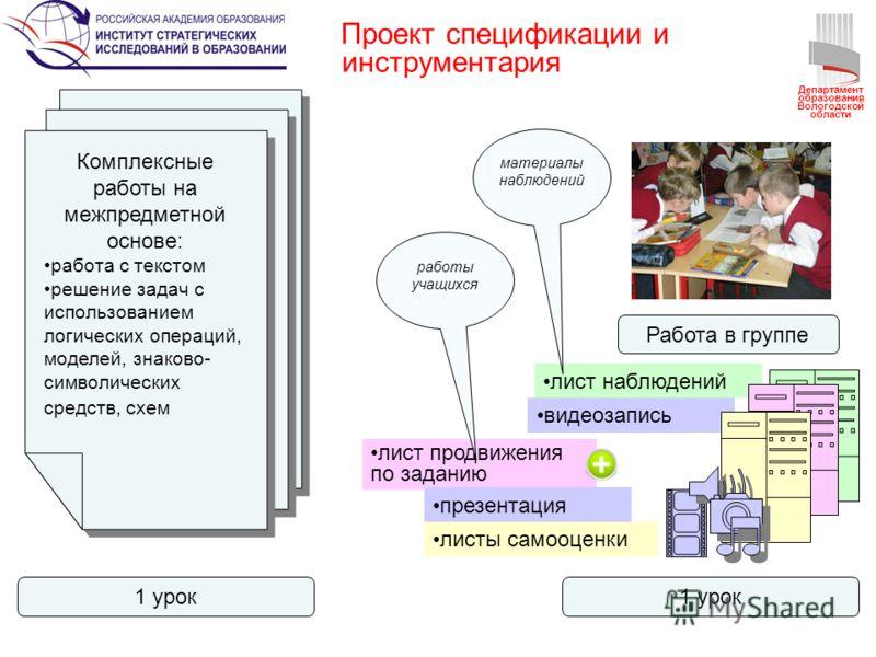 Проект спецификации и инструментария Комплексные работы на межпредметной основе: работа с текстом решение задач с использованием логических операций, моделей, знаково- символических средств, схем Комплексные работы на межпредметной основе: работа с т