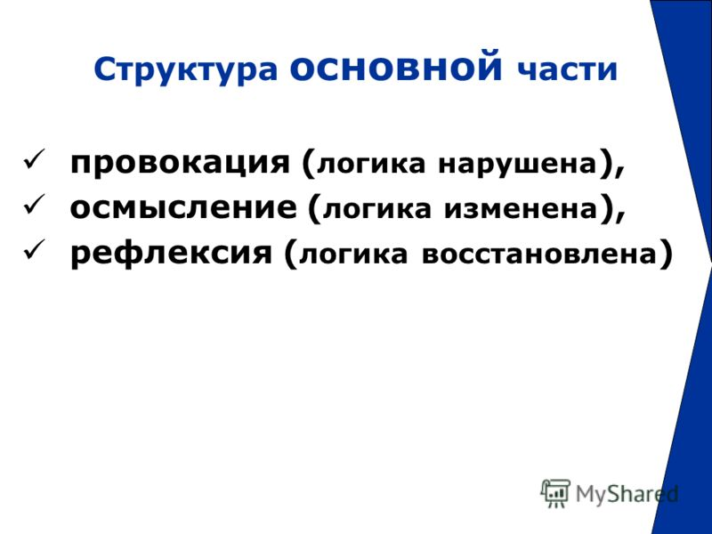 Структура основной части провокация ( логика нарушена ), осмысление ( логика изменена ), рефлексия ( логика восстановлена )