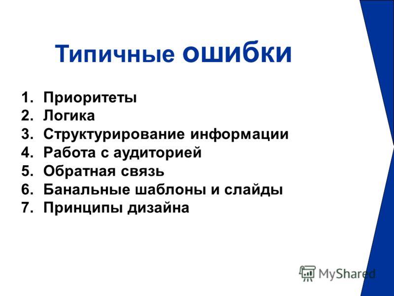 Типичные ошибки 1.Приоритеты 2.Логика 3.Структурирование информации 4.Работа с аудиторией 5.Обратная связь 6.Банальные шаблоны и слайды 7.Принципы дизайна