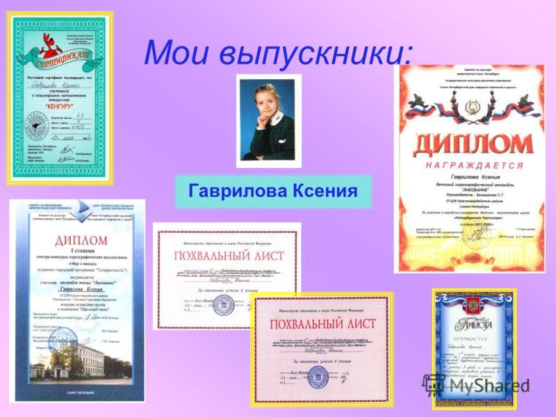 Мои выпускники: Гаврилова Ксения