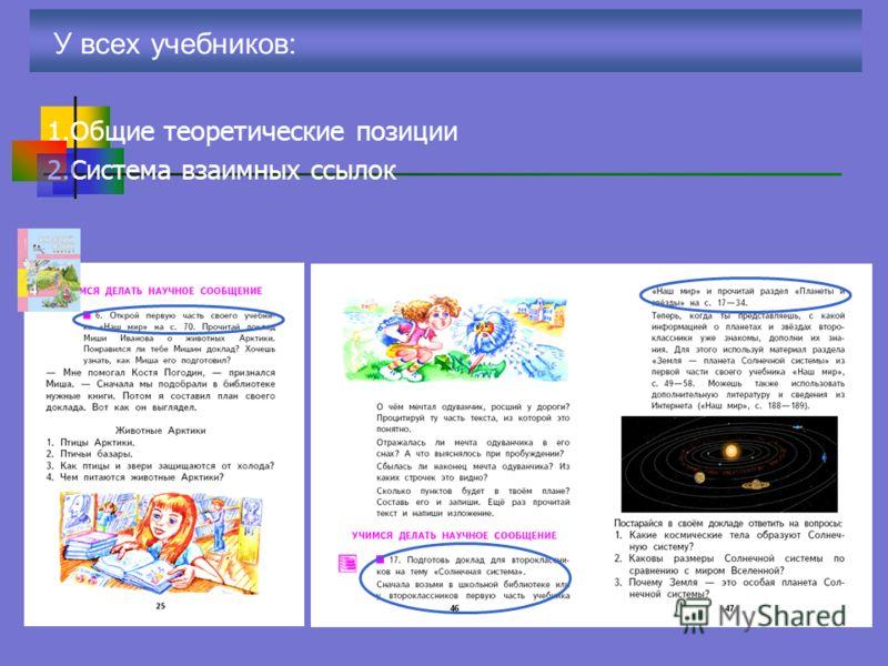 У всех учебников: 1.Общие теоретические позиции 2.Система взаимных ссылок