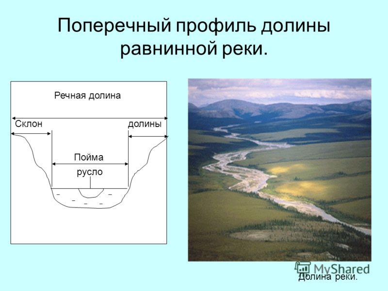 Поперечный профиль долины равнинной реки. Речная долина русло Пойма Склондолины Долина реки.