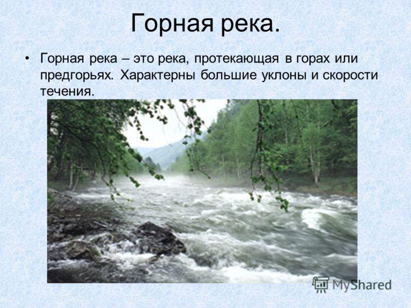 Горная река. Горная река – это река, протекающая в горах или предгорьях. Характерны большие уклоны и скорости течения.