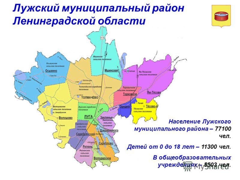 Население Лужского муниципального района – 77100 чел. Детей от 0 до 18 лет – 11300 чел. В общеобразовательных учреждениях – 5503 чел. Лужский муниципальный район Ленинградской области