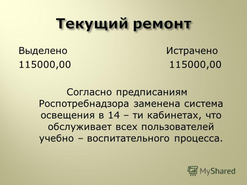 Выделено Истрачено 115000,00 115000,00 Согласно предписаниям Роспотребнадзора заменена система освещения в 14 – ти кабинетах, что обслуживает всех пользователей учебно – воспитательного процесса.