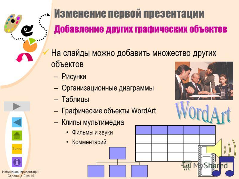Выход На слайды можно добавить множество других объектов –Рисунки –Организационные диаграммы –Таблицы –Графические объекты WordArt –Клипы мультимедиа Фильмы и звуки Комментарий Изменение презентации Страница 9 из 10 Изменение первой презентации Добав