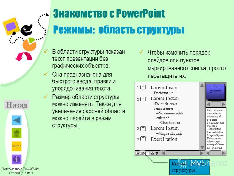 Выход Назад Знакомство с PowerPoint Режимы: область структуры В области структуры показан текст презентации без графических объектов. Она предназначена для быстрого ввода, правки и упорядочивания текста. Размер области структуры можно изменять. Также
