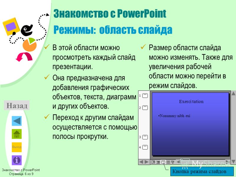 Выход Знакомство с PowerPoint Режимы: область слайда В этой области можно просмотреть каждый слайд презентации. Она предназначена для добавления графических объектов, текста, диаграмм и других объектов. Переход к другим слайдам осуществляется с помощ