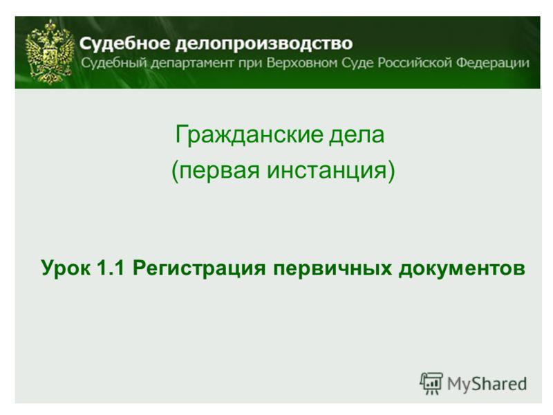 Гражданские дела (первая инстанция) Урок 1.1 Регистрация первичных документов