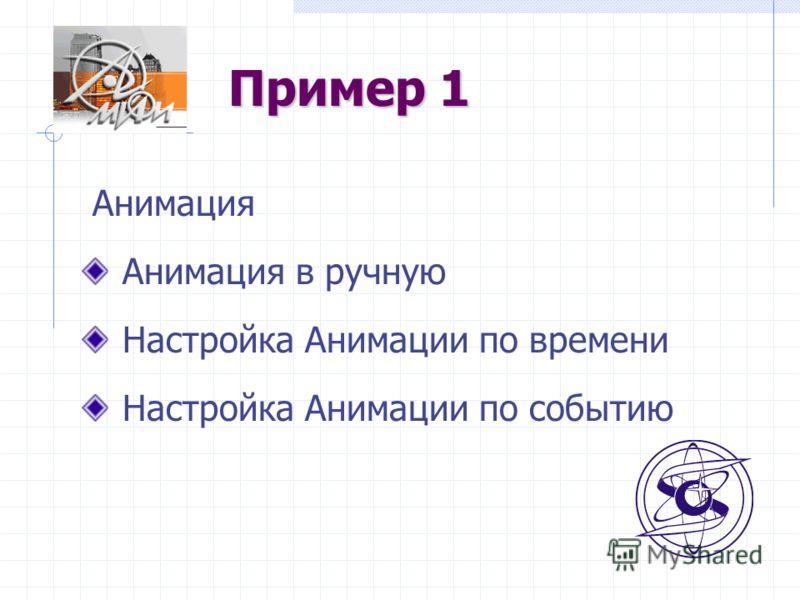 Пример 1 Анимация Анимация в ручную Настройка Анимации по времени Настройка Анимации по событию