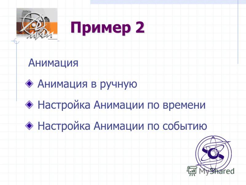 Пример 2 Анимация Анимация в ручную Настройка Анимации по времени Настройка Анимации по событию
