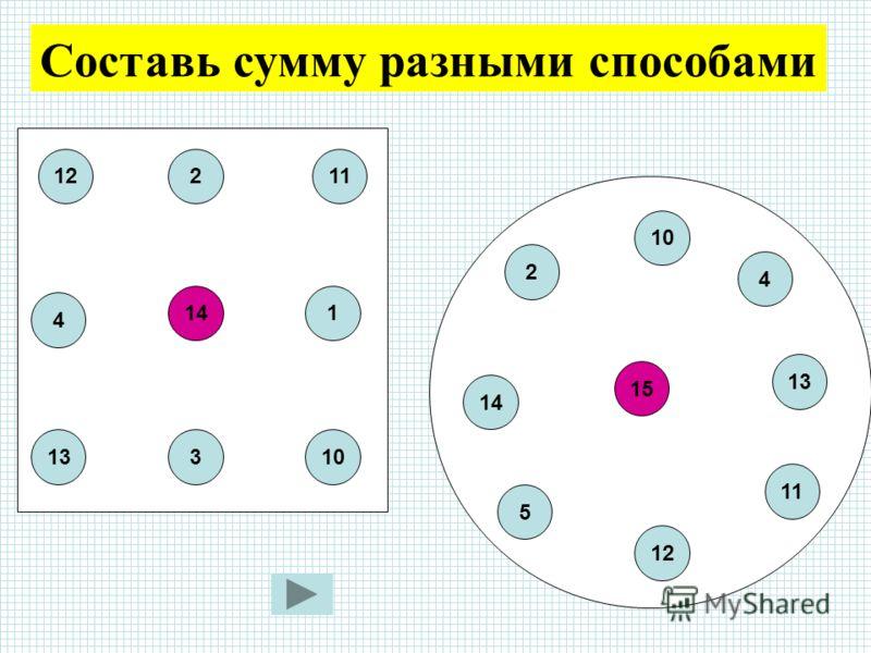 Составь сумму разными способами 14 2 3 1 11 1013 4 12 2 15 10 4 13 11 12 5 14