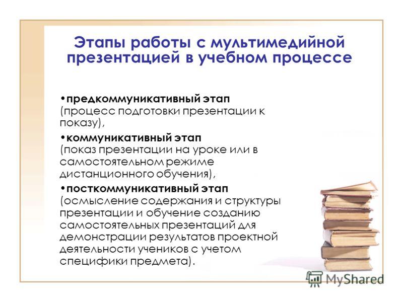 Информационно-образовательные среды дифференцированы и предъявляются последовательно Формы предъявления учебной информации Традиционные носители информации Мультимедийная презентация Информационно-образовательная среда интегрирована, предъявляет неск