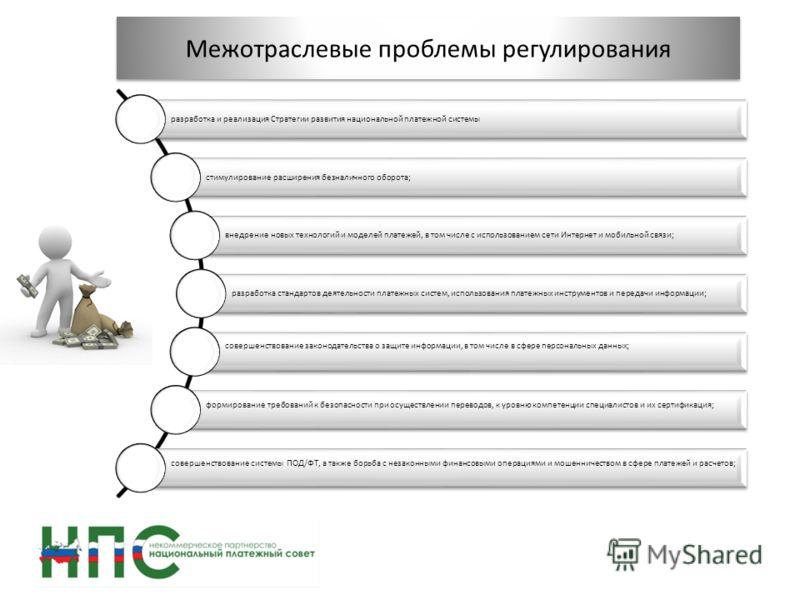 Межотраслевые проблемы регулирования разработка и реализация Стратегии развития национальной платежной системы стимулирование расширения безналичного оборота; внедрение новых технологий и моделей платежей, в том числе с использованием сети Интернет и