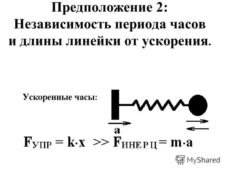 Предположение 2: Независимость периода часов и длины линейки от ускорения.