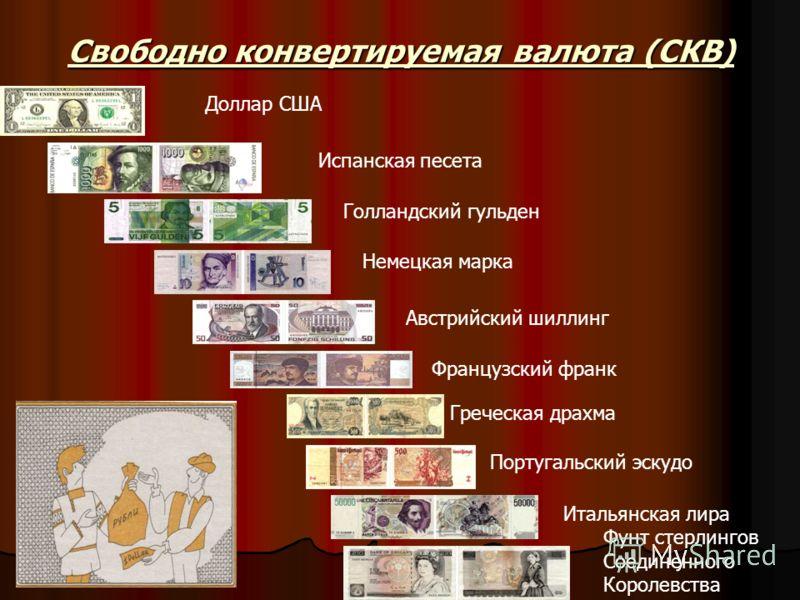 Свободно конвертируемая валюта (СКВ) Доллар США Испанская песета Голландский гульден Немецкая марка Австрийский шиллинг Французский франк Греческая драхма Португальский эскудо Итальянская лира Фунт стерлингов Соединенного Королевства