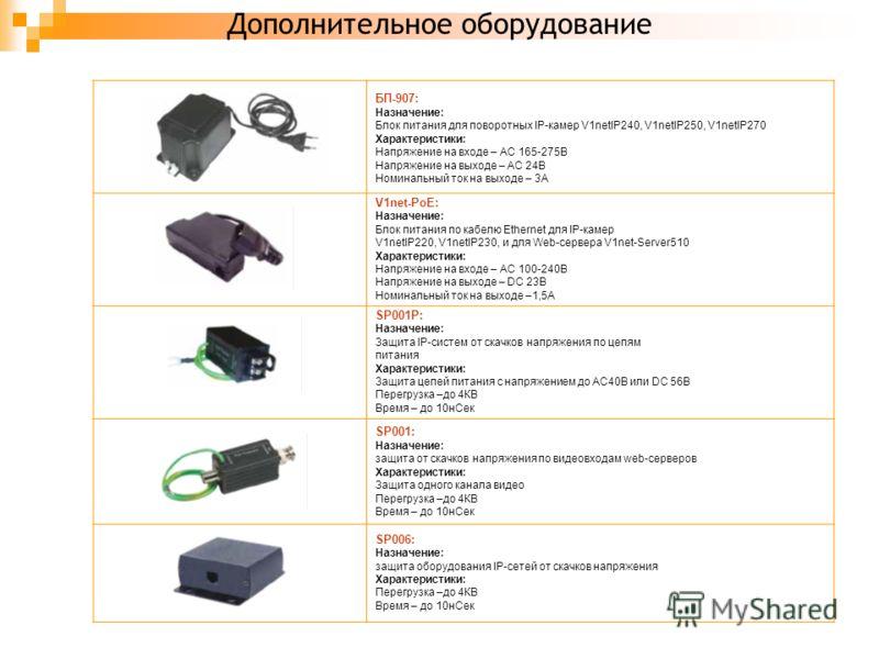 Дополнительное оборудование БП-907: Назначение: Блок питания для поворотных IP-камер V1netIP240, V1netIP250, V1netIP270 Характеристики: Напряжение на входе – AC 165-275В Напряжение на выходе – AC 24В Номинальный ток на выходе – 3А V1net-PoE: Назначен