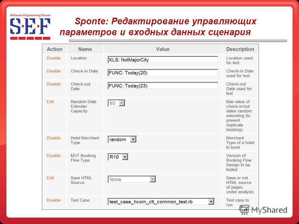 Sponte: Редактирование управляющих параметров и входных данных сценария