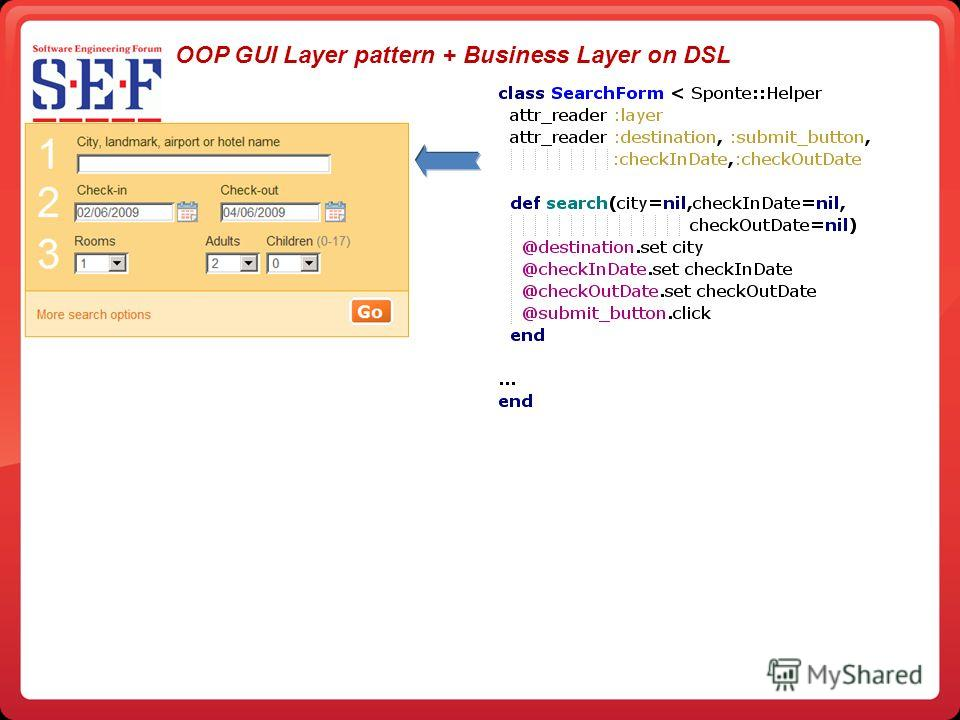OOP GUI Layer pattern + Business Layer on DSL