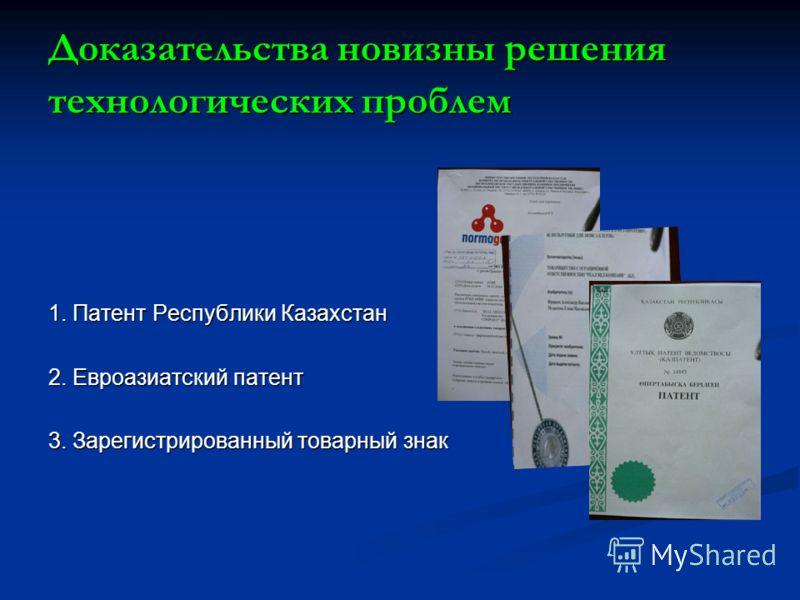 Доказательства новизны решения технологических проблем 1. Патент Республики Казахстан 2. Евроазиатский патент 3. Зарегистрированный товарный знак