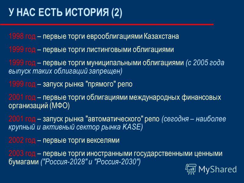 У НАС ЕСТЬ ИСТОРИЯ (2) 1998 год – первые торги еврооблигациями Казахстана 1999 год – первые торги листинговыми облигациями 1999 год – первые торги муниципальными облигациями (с 2005 года выпуск таких облигаций запрещен) 1999 год – запуск рынка