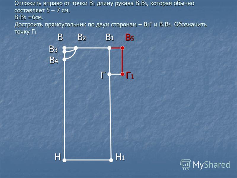 Отложить вправо от точки В 1 длину рукава В 1 В 5, которая обычно составляет 5 – 7 см. В 1 В 5 =6см. Достроить прямоугольник по двум сторонам – В 1 Г и В 1 В 5. Обозначить точку Г 1 В В 2 В 1 В 5 В В 2 В 1 В 5 В 3 В 3 В 4 В 4 Г Г 1 Г Г 1 Н Н 1 Н Н 1