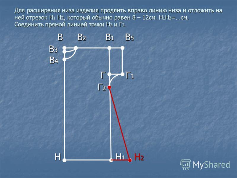 Для расширения низа изделия продлить вправо линию низа и отложить на ней отрезок Н 1 Н 2, который обычно равен 8 – 12см. Н 1 Н 2 =…см. Соединить прямой линией точки Н 2 и Г 2. В В 2 В 1 В 5 В В 2 В 1 В 5 В 3 В 3 В 4 В 4 Г Г 1 Г Г 1 Г 2 Г 2 Н Н 1 Н 2