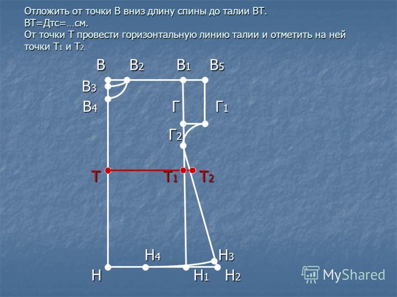 Отложить от точки В вниз длину спины до талии ВТ. ВТ=Дтс=…см. От точки Т провести горизонтальную линию талии и отметить на ней точки Т 1 и Т 2. В В 2 В 1 В 5 В В 2 В 1 В 5 В 3 В 3 В 4 Г Г 1 В 4 Г Г 1 Г 2 Г 2 Т Т 1 Т 2 Т Т 1 Т 2 Н 4 Н 3 Н 4 Н 3 Н Н 1