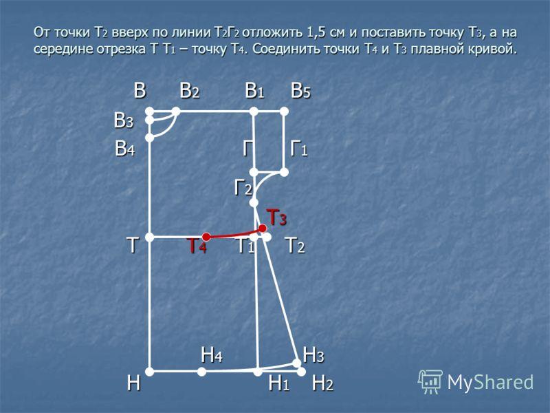 От точки Т 2 вверх по линии Т 2 Г 2 отложить 1,5 см и поставить точку Т 3, а на середине отрезка Т Т 1 – точку Т 4. Соединить точки Т 4 и Т 3 плавной кривой. В В 2 В 1 В 5 В В 2 В 1 В 5 В 3 В 3 В 4 Г Г 1 В 4 Г Г 1 Г 2 Г 2 Т 3 Т 3 Т Т 4 Т 1 Т 2 Т Т 4