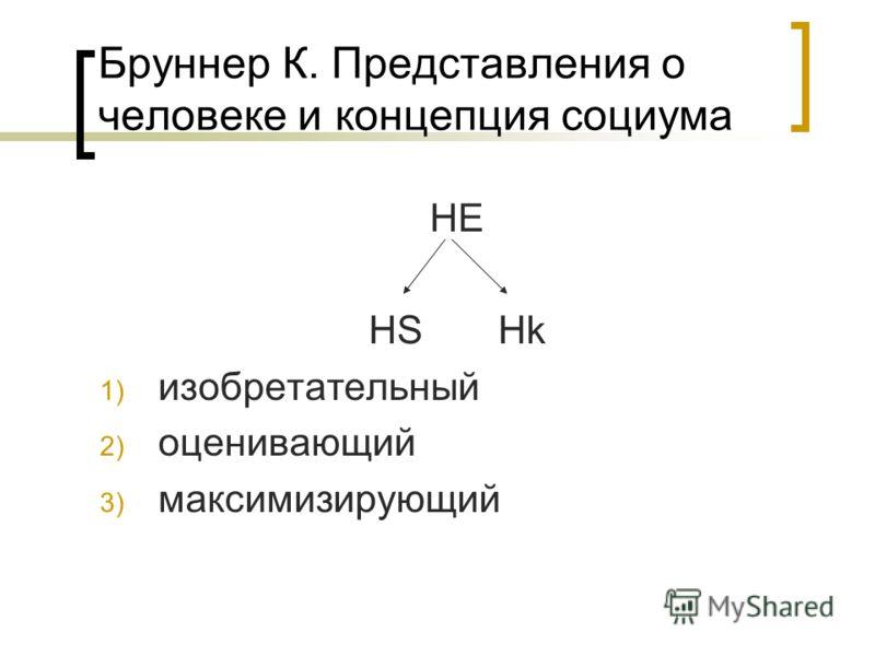 Бруннер К. Представления о человеке и концепция социума HE HS Hk 1) изобретательный 2) оценивающий 3) максимизирующий