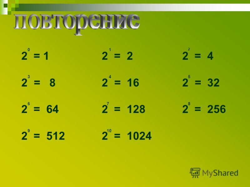 2 = 1 2 = 2 2 = 4 2 = 8 2 = 16 2 = 32 2 = 64 2 = 128 2 = 256 2 = 512 2 = 1024 01 2 345 678 910