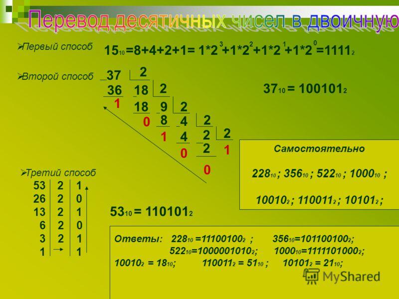 Первый способ 15 10 =8+4+2+1= 1*2 +1*2 +1*2 +1*2 =1111 2 321 0 Второй способ 37 36 2 18 2 1 0 92 4 8 1 2 4 0 2 2 1 2 0 37 10 = 100101 2 Третий способ 53 2 1 26 2 0 13 2 1 6 2 0 3 2 1 1 1 53 10 = 110101 2 Самостоятельно 228 10 ; 356 10 ; 522 10 ; 1000