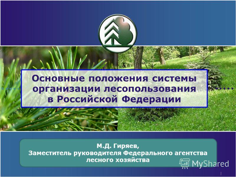 1 Основные положения системы организации лесопользования в Российской Федерации М.Д. Гиряев, Заместитель руководителя Федерального агентства лесного хозяйства