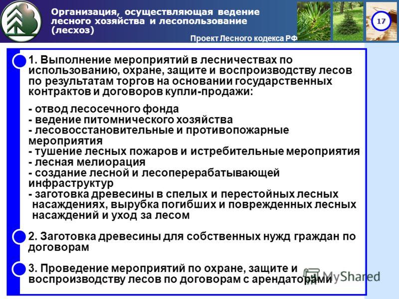 17 Организация, осуществляющая ведение лесного хозяйства и лесопользование (лесхоз) Проект Лесного кодекса РФ 1. Выполнение мероприятий в лесничествах по использованию, охране, защите и воспроизводству лесов по результатам торгов на основании государ