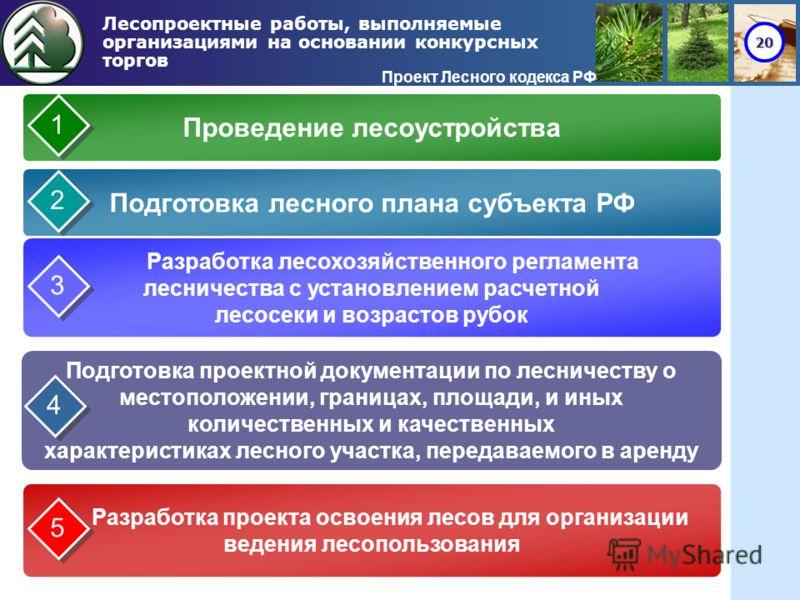 20 Лесопроектные работы, выполняемые организациями на основании конкурсных торгов Проект Лесного кодекса РФ Проведение лесоустройства Подготовка лесного плана субъекта РФ Разработка лесохозяйственного регламента лесничества с установлением расчетной