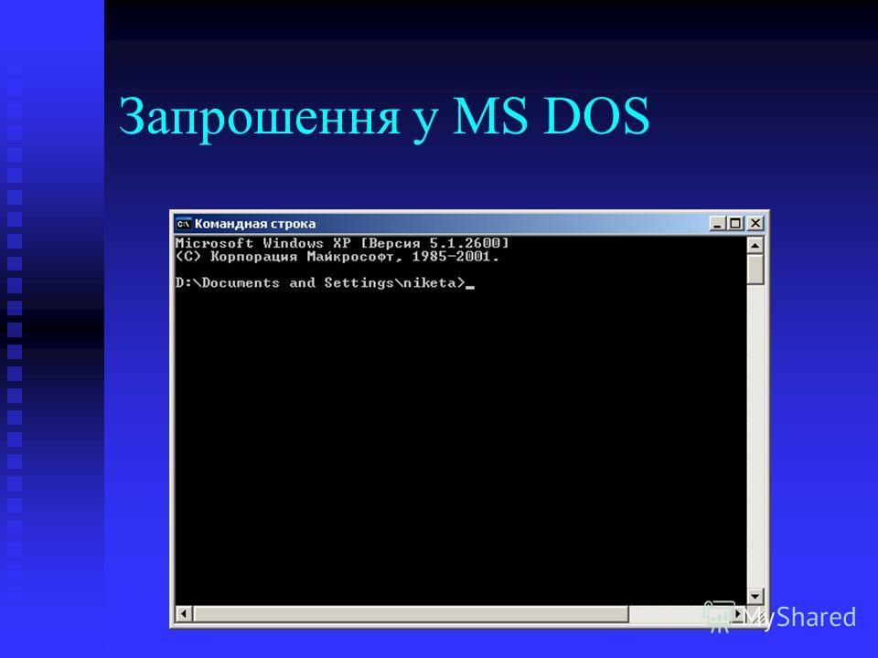 Запрошення у MS DOS