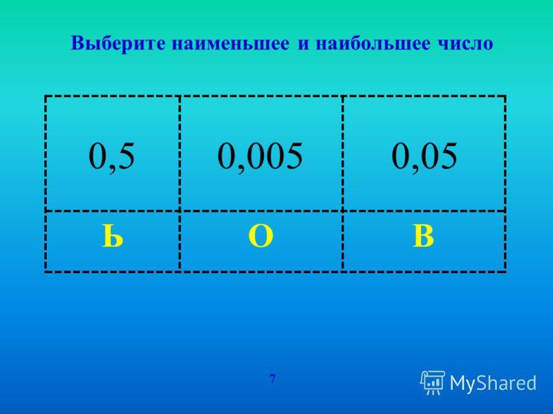 ВОЬ Выберите наименьшее и наибольшее число 7 0,50,0050,05