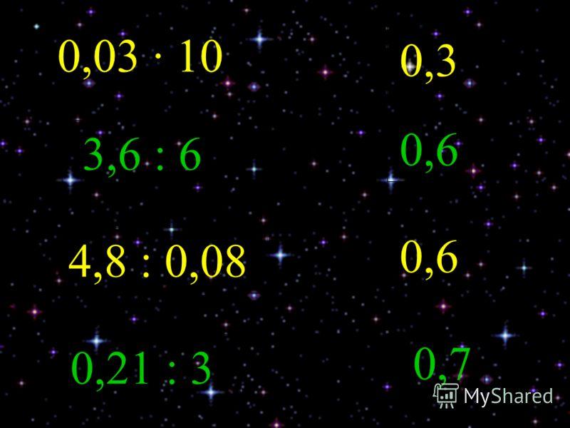 0,03 10 0,3 0,03 10 3,6 : 6 0,6 4,8 : 0,08 0,6 0,21 : 3 0,7