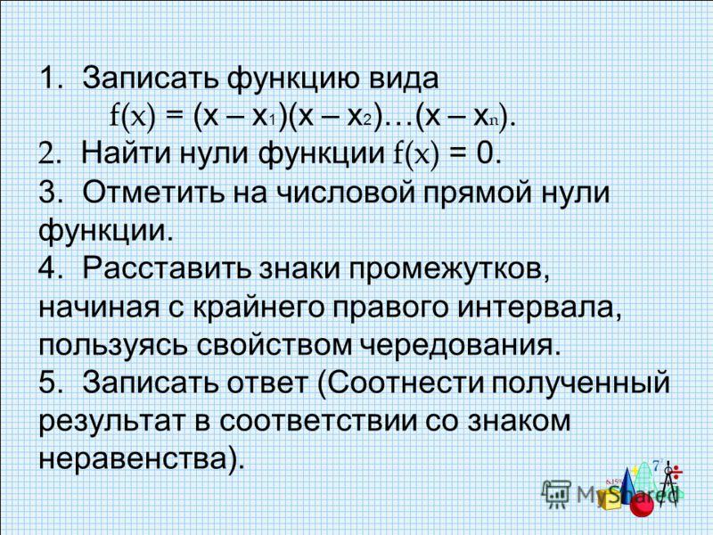 1. Записать функцию вида f(x) = (х – х 1 )(х – х 2 )…(х – х n ). 2. Найти нули функции f(x) = 0. 3. Отметить на числовой прямой нули функции. 4. Расставить знаки промежутков, начиная с крайнего правого интервала, пользуясь свойством чередования. 5. З
