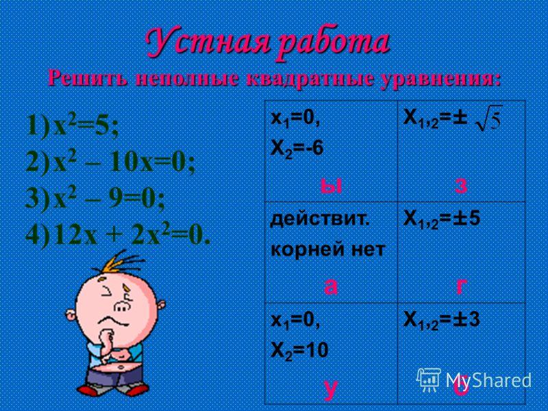 Устная работа Решить неполные квадратные уравнения: х 1 =0, Х 2 =-6 ы Х1,2=±зХ1,2=±з действит. корней нет а Х1,2=±5гХ1,2=±5г х 1 =0, Х 2 =10 у Х1,2=±3бХ1,2=±3б 1)х 2 =5; 2)х 2 – 10х=0; 3)х 2 – 9=0; 4)12х + 2х 2 =0.