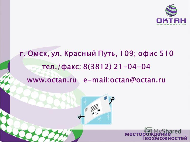 г. Омск, ул. Красный Путь, 109; офис 510 тел./факс: 8(3812) 21-04-04 www.octan.ru e-mail:octan@octan.ru