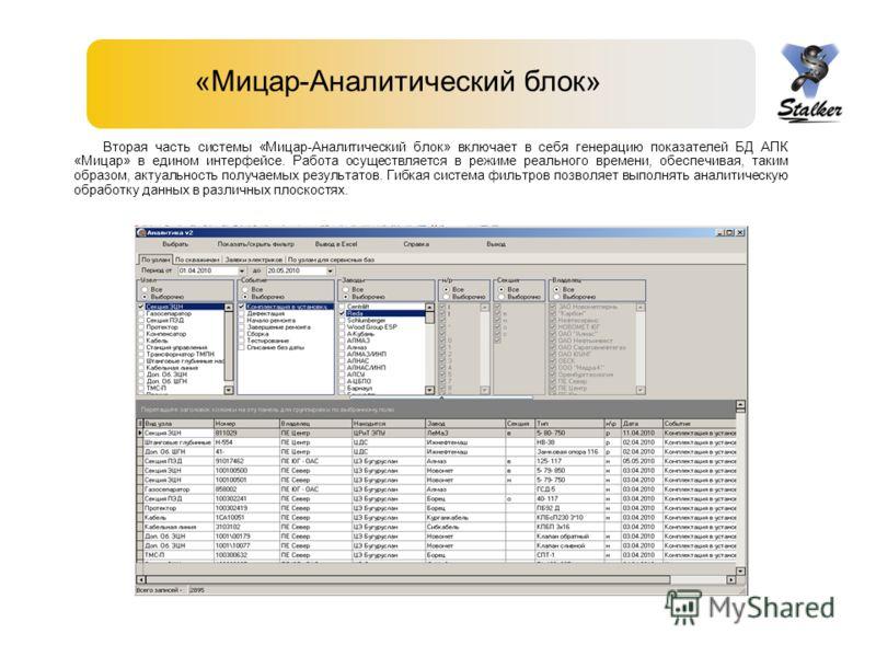 «Мицар-Аналитический блок» Вторая часть системы «Мицар-Аналитический блок» включает в себя генерацию показателей БД АПК «Мицар» в едином интерфейсе. Работа осуществляется в режиме реального времени, обеспечивая, таким образом, актуальность получаемых