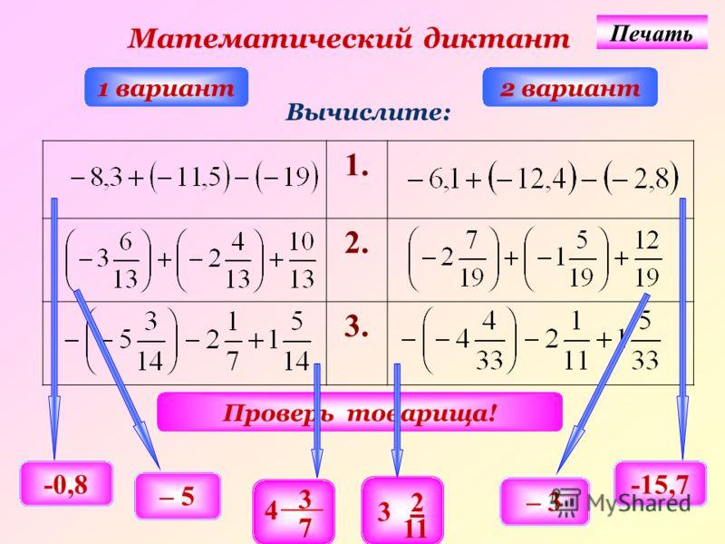 1. 2. 3. Математический диктант 1 вариант2 вариант Вычислите: Проверь товарища! -0,8-15,7 – 5 – 3 3 4 7 2 3 11 Печать