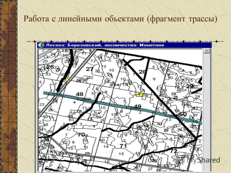 Работа с линейными обьектами (фрагмент трассы)