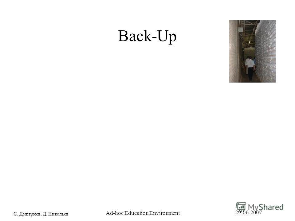 С. Дмитриев, Д. Николаев 29.06.2007 Ad-hoc Education Environment Back-Up