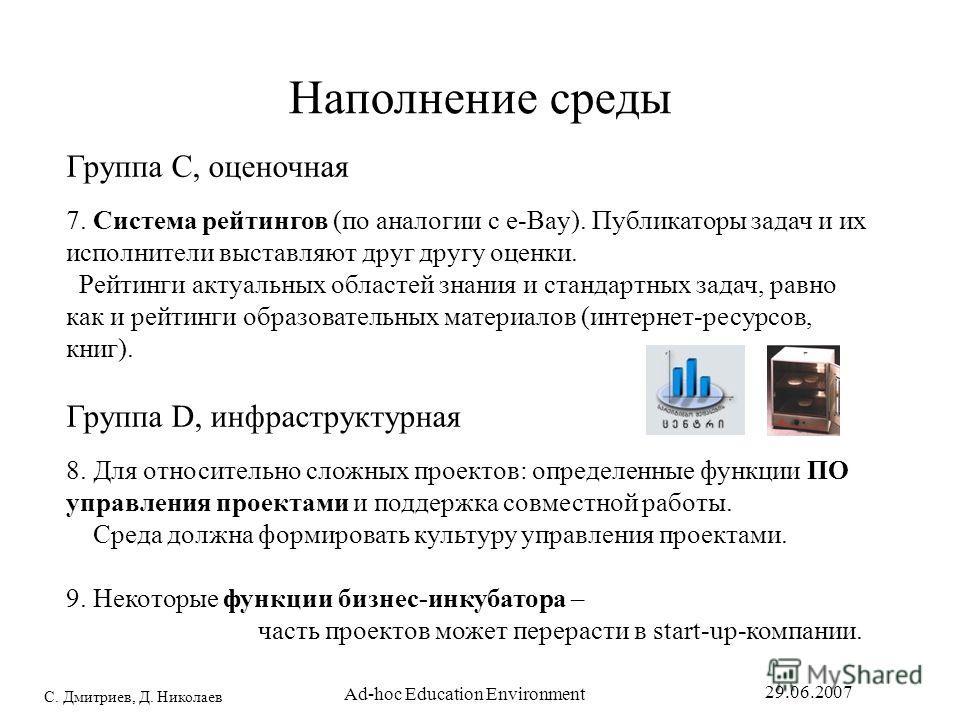 С. Дмитриев, Д. Николаев 29.06.2007 Ad-hoc Education Environment Наполнение среды Группа C, оценочная 7. Система рейтингов (по аналогии с е-Bay). Публикаторы задач и их исполнители выставляют друг другу оценки. Рейтинги актуальных областей знания и с